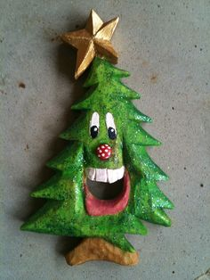 I carved this Christmas tree ornament! Ain't he cute?!