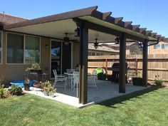 Check out http://kensmhs.com! Wood-Grained aluminum solid patio covers and lattice arbors. DIY Patio Cover Kits are available