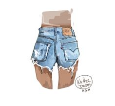 Denim, shorts, dye, destroyed, ka Herdegen, cut off, jeans, grunge, drawing, art, draw, illustration, fashion, fasion design,