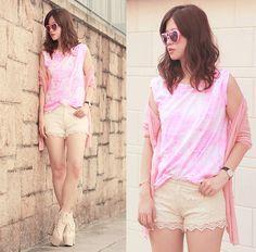 Romwe Heart Sunnies, Ianywear Neon Pink Tee, Yesstyle Sheer Pink Cardi, Romwe Lace Shorts, Sleeh Lacey Booties
