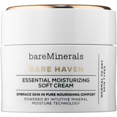 bareMinerals BARE HAVEN™ Essential Moisturizing Soft Cream ($35) ❤ liked on Polyvore featuring beauty products, skincare, face care, face moisturizers, bare escentuals and dry skin face moisturizer