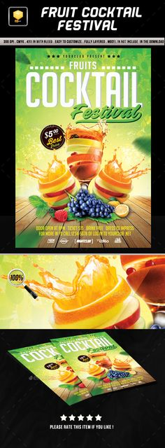 Fruit Cocktail Festival Flyer Template PSD. Download here: http://graphicriver.net/item/fruit-cocktail-festival/16692799?ref=ksioks