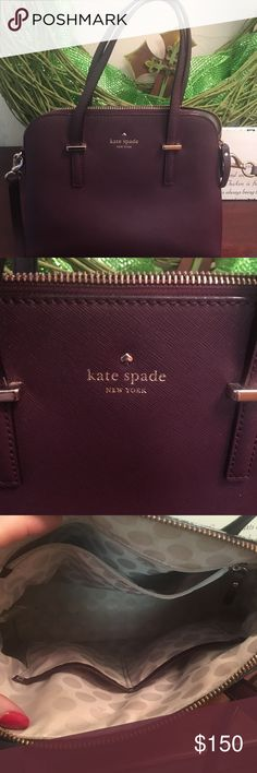 """Kate Spade Satchel SIZE 11.3 w x 9.0 h x 5.1 d 4.75"""" handle, 22"""" adjustable strap crossbody MATERIAL pebbled leather with matte finish with leather trim bookstripe printed on poly twill lining style # pxru8046 kate spade Bags Satchels"""