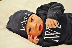 Personalized Newborn Baby Gown and Beanie Hat Combo /  Several color options on Etsy, $24.50