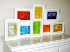 Young Women Values. These would be cute in Sawyers room.