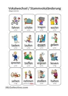 Verben/Verbs - To test students, white out the vowel change and write it on the back as a flashcard, then have them write/speak all the conjugations! Study German, Learn German, Learn French, German Grammar, German Words, German Resources, Deutsch Language, Germany Language, German Language Learning