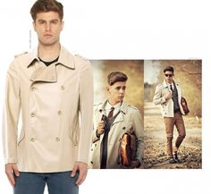 Ivory Double Breasted Leather #Coat - The classics of the era #doublebreasted coat are the must-haves that will surely amp up your status, the moment you wear it. Pair it with colors like burgundy and grey in gradient texture #t-shirt and #jeans. Leather belt and boots in brown would be a great pair-up to complete the look.