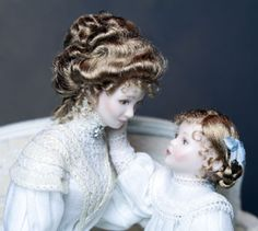 Lisa Johnson-Richandson porcelain dolls are a reproduction of a beautiful mother & daughter painting by American/ French impressionist painter Mary Cassatt.