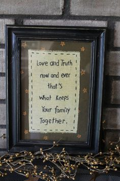 Starting at $9.99 Embroidered Picture, Love and Family Quote,  Rustic, Folk Art, Country Decor #Country