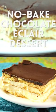 With layers of graham crackers and fluffy vanilla pudding, this classic No-Bake Chocolate Eclair Dessert is creamy, delicious. New Dessert Recipe, Best Dessert Recipes, No Bake Desserts, Delicious Desserts, Cake Recipes, Yummy Food, Chocolate Eclair Dessert, Yummy Treats, Sweet Treats