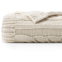 Lands' End Knit Cable Throw ($46) ❤ liked on Polyvore featuring home, bed & bath, bedding, blankets, ivory, cable knit bedding, knit blanket, cream cable knit throw, plush throw and plush throw blanket