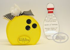 Bowling Pin Invite and Gift Bag