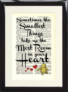 Art Print Antique Dictionary Winnie The Pooh Sometimes The Smallest Things Heart