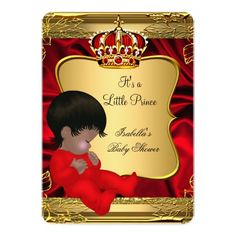 African American Prince Boy Baby Shower Red Gold 5x7 Paper Invitation Card