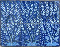 anel of six tiles, ca. 1540, Iznik, Turkey, Fritware painted in blue, turquoise, and sage green with black outlines under a transparent glaze.