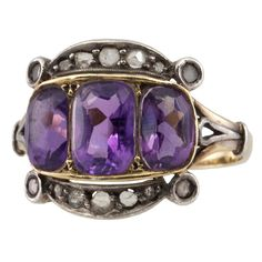 Antique Amethyst and Diamond Ring.