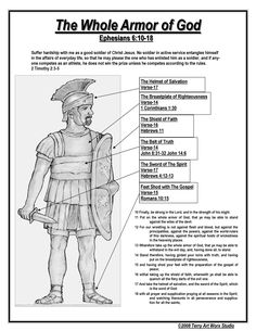 Ephesians 6 Armor of God description, Link is disconnected but clip can be saved and put into program to print out Bible Scriptures, Bible Quotes, Ephesians 6, Galatians 6, Bible Knowledge, Armor Of God, Scripture Study, Scripture Journal, Spiritual Warfare