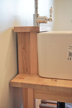 BELFAST SINK Base Unit / Stand with TAP LEDGE | Solid Birch Wood ...