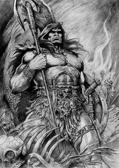Fantastische Welten Fantastic Worlds Fantasy Heroes, Fantasy Warrior, Fantasy Characters, Dcc Rpg, Evil Skull Tattoo, Comic Art Fans, Warcraft Art, Conan The Barbarian, Comic Drawing
