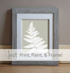 DIY Painting Pattern - Printable Pattern Download - Botanical Art - Fern Painting - Sophisticated look for an affordable price! Do you enjoy adult coloring books? You'll love painting this elegant fern painting pattern. Simply, print, paint, and frame!