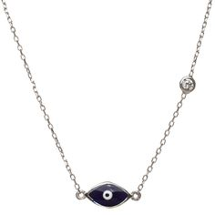 Evil eye necklace with a Turkish blue good luck eye.  Enamel colored blue brings health, beauty, and love to your life.