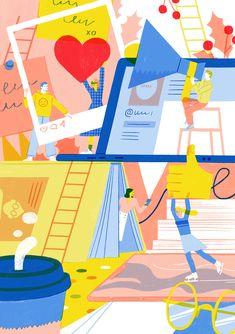 Postcards for mastera.academy on Behance Flat Design Illustration, People Illustration, Character Illustration, Digital Illustration, Graphic Illustration, Illustrations And Posters, Design Reference, Branding Design, Character Design