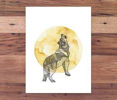 Full Moon Intricate Geometric Wolf - Spirit Animal Print from Handmade Ink & Watercolor Painting