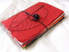 Handmade Journal, Red, handmade Multicolor paper journal, Eco Friendly