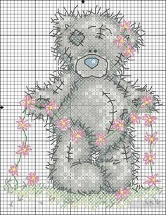 Sweet teddy w/garland of flowers..FREE chart, no color code chart