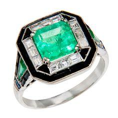 Art Deco Emerald Diamond Platinum Ring - N. Green and Sons