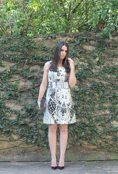 Blog Caca Dorceles. 2014. Meu look: Vestido Evasê Cinturado. Tigresse dress + Christian Louboutin scarpin + Zara handbag.