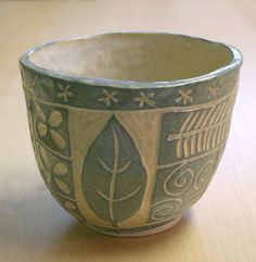 Patchwork Bowl (slabs shaped over plaster molds and decorated with sgraffito) | by PatchworkPottery