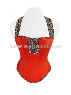 COSH INTERNATIONAL:Red Satin With Leopard Fabric Overbust Steel Boned Waist Training Steel boned corsets supplier​ #cosh #international #redsatin #overbust #steelboned #waistintraning #overbust #corset #supplier
