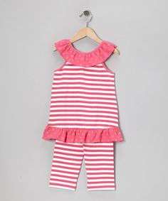 Take a look at this Hot Pink Stripe Tank & Capri Pants - Infant, Toddler & Girls by Sweet Teas Children's Boutique on #zulily today!