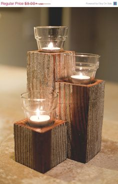 Barnwood Candle Holder by ThreeArrowDesign