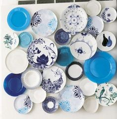 Awesome Blue And White Plates   Iu0027m Thinking A Small Cluster On One Of Our Unused  Walls In The Kitchen.