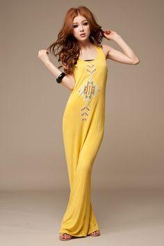 Желтое платье без рукавов [gjl2062604] - 493.00руб