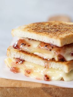 Parmesan Crusted Fondue Grilled Cheese with Pepper Jelly | Foodie Crush