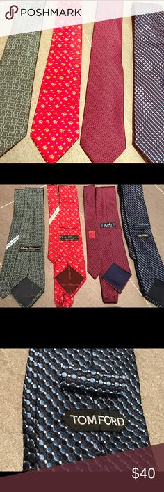 4 Men's ties - 2 Ferregamo, 1 Hermès, 1 Tom Ford This BUNDLE of luxe brand ties is in excellent condition. All 4 ties are 100% silk. The Ferragamo prints are giraffes on a red background and kick scooters on a green background. Hermès is a repeating chain pattern and Tom Ford is bold blue, black and smaller white dots. Perfect for office or cocktail attire. Salvatore Ferragamo Accessories Ties