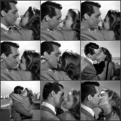 "Cary Grant and Ingrid Bergman in the famous kissing scene from Alfred Hitchcock's ""Notorious,"" 1946. [pr]."
