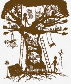 The girl who built a library in a tree… by Steering for North on Flickr.
