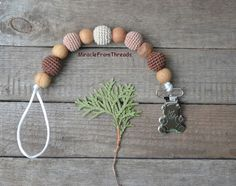 Dummy Chains – Pacifier chain.Wooden  toy.Baby  teether – a unique product by MiracleFromThreads on DaWanda