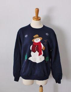 Ugly Christmas Sweater Jumper Women Men M blue Snowman Jerzees cotton blend C35 #Jerzees #Crewneck