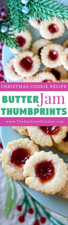 Christmas Thumbprint Cookies   A recipe for butter jam thumbprint cookies, featuring a melt-in-your-mouth, buttery cookie filled with strawberry jam and sprinkle with sparkling sugar   #christmascookies #butterjamcookies #thumbprintcookies #buttercookies