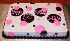 Polka dot cake; buttercream icing with fondant details: $45 (different inscription of course)