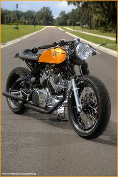 Yamaha Virago 750 built by Greg Hageman of Doc's Chops. Loving the details, and look.