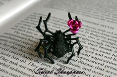 Gothic black spider ring with pink rose £6.00