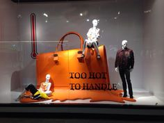 .Too hot to handle - cute window display! #VisualMerchandising #WindowDisplay