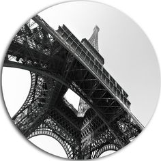 "DesignArt Skyscape Large Disc 'Eiffel Tower into the Sky'  Photographic Print on Metal Size: 38"" H x 38"" W x 1"" D"