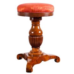 """English Regency Piano Stool in Mahogany, c. 1820.  13"""" d seat x 17"""" d base x 20.5"""" high. Seat height is adjustable. Features circular upholstered seat over baluster-turned pedestal on tripod base. Meticulously restored. English Regency Piano Stool in Mahogany, c. 1820 . $2,450. Regency. England. 1820. LOCATION: Miami, FL. # LU9881965248"""